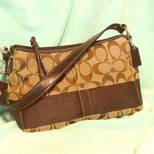 Coach brown signature print mini bag